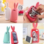 Lovely Rabbit Storage Silicone Case For Iphone 4/4S/5/6