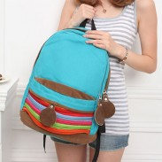 Unique Rainbow Stripe Canvas Backpack