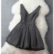 Retro Temperament Polka Dot Slim Halter Dress& Vest Dress