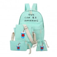 Korean Fresh Printing Letters Canvas Backpack Schoolbag Four Set Travel Bag