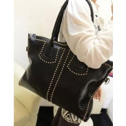 Fashion Black Rivets zipper Handbag&Shoulder Bag