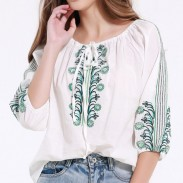 Vintage Bandage  Embroidered Casual Quarter Loos Tops
