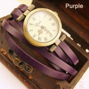 Fashion Retro Style Multi-wraps Thin Belt Retro Watch-purple