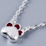 Cute Silver Kitten Necklace Red Cat Claws Kitty Pendant Necklace
