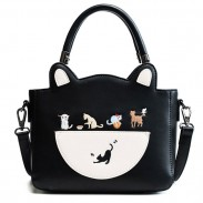Cute Cartoon Cat Kitten PU Shoulder Bag Handbag