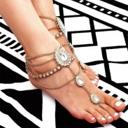 Leisure Fringed Alloy Beach Women Anklet Water Droplets Rhinestone Feet Accessory Anklet