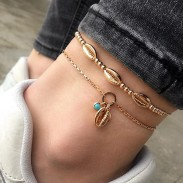 Fashion Bohemian Handmade Beaded Metal Shell Personality Foot Double Decker Anklet