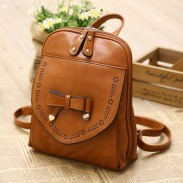 Retro Style PU Leather Bow Backpack