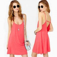 Sexy good Pink Solid Halter Strap Hollow Out Dress