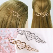 Retro Cupid Love Heart Angel Wings Metallic Side Women Hollow Hair Clips