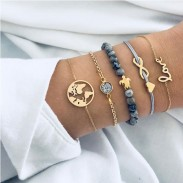 Unique Multi-layer Map Unlimited Turtle Love Five Set Bracelet