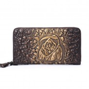 Retro 3D Skull Original Wallet Large Mobile Wallet  Punk Grim Reaper Clutch Bag