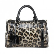 Retro Luxurious Leopard Printed Leather Handbag