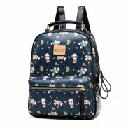 Lovely Lovely Bear Printed Cartoon Leather Backpack