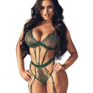 Sexy Strappy Corset Backless Teddy With Blindfold Garter Belts Bodysuit Eye Mask Lingerie For Women