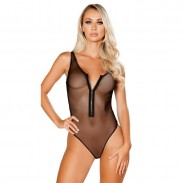 Sexy Black Mesh One-piece Zipper Perspective Underwear Conjoined Women's Lingerie