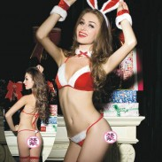 Sexy Red Christmas Bow Bunny Girl Uniform Bra Set Hot Teenage Intimate Lingerie