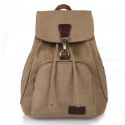 Retro Single Button College Bag Outdoor Hiking Canvas Backpack