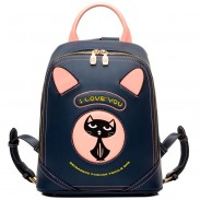 Cartoon PU Cat Women Rucksack Lovely Kitten Bag College Backpack