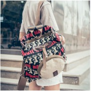 Retro Handsome Man Avatar Printing Backpack Shoulder Bag Schoolbag