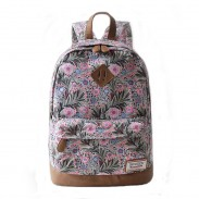 New Fresh Floral + Leaves Printed Travel Backpack Schoolbag