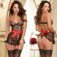 Sexy See Through Lace Splicing Silk Bowknot Black Splicing Red Backless Dress Underwear Women's Cosplay Sleepwear Lingerie