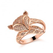 Romantic Fox Lover Silver Rose Gold Animal Diamond Open Ring