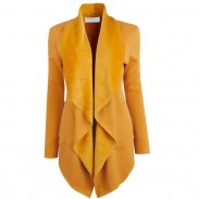 Elegant Front Open Lapel Long  Women's Jacket Top Coat