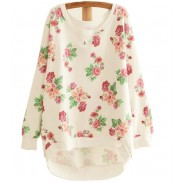 Fresh Floral Loose Bat Sleeve Round Neck Sweater
