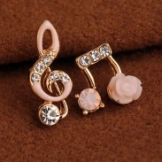 Unique Music Notes Solid Flower Shining Women's Unsymmetrical Diamond-bordered Earring Studs