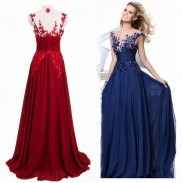Fashion Luxury See Through Flower Evening Dress Women's Long Lace Prom Dresses