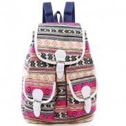 Folk Belt Flap Drawstring School Backpack Girls Canvas Geometric Totem Two Pockets Travel Backpack
