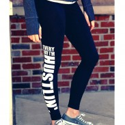 Cute Yoga Sports Ninth Skinny Letters Printing Women Legging