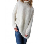Fashion Hollow Out Large Size Sweater Anti Knitting Turtleneck Sweater