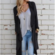 Cool Irregular Cardigan Big Collar Long-sleeved  Sweater Coat