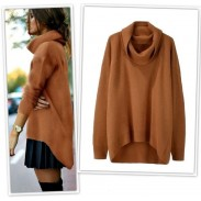 Fashion Candy Color High Collar Thermal Irregular Rabbit Hair Sweater