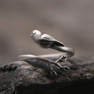 Vintage Original Silver Bird Tree Leaves Animal Open Ring