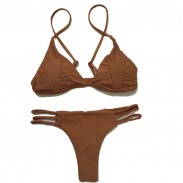 Sexy Brown Patch Split Bikini Bandage Swimsuit  Bikini Set