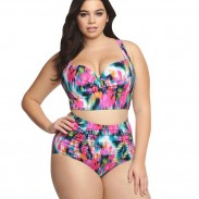 New Large Size Colorful Lattice Women's Bikini Sexy High Waist Swimsuit