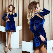 Sexy V-neck Gold Velvet Lace Stitching Pleated Women Party Dresses