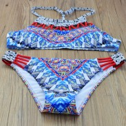 Folk Style Anacardium Occidentale Printing Bikini Split Swimsuit