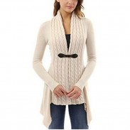 Lace-up Knitted Irregular Lower Hem Long Sleeves Fashion Women's V-neck Cardigan