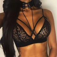 Sexy Women's Lace See Through Hollowed-out Flowers Front Cross Straps Braces Bra Lingerie