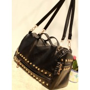 Retro Black Rivets zipper Handbag&Shoulder Bag