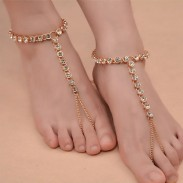 Cute Beach Yoga Alloy Rhinestones Chain Anklet Ring Anklet