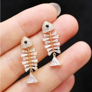 Cute Silver Needle Bone Personality Creative Earrings Zircon Fish Bone Animal Earrings Studs