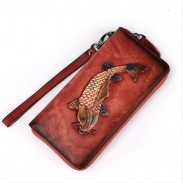 Retro Handmade 3D Fish Embossed Original Solid Goldfish Long Wallet Clutch Bag