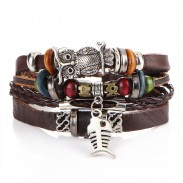 Retro Multi-layer Alloy Owl Fish Woven Beaded Leather Bracelet