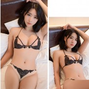Sexy Lace Love Heart Sling Bra Set Pearl Pants Lady Transparent Hollow Intimate Lingerie