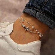 Vintage Simple Fabric Pearl Anklet Silver ECG Heart Set 2 Piece Set Anklet